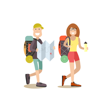 Tourist people reading map vector illustration in flat style