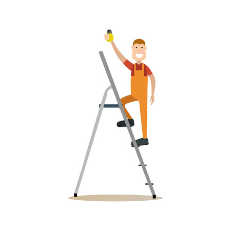Vector illustration of smiling electrician standing on ladder and fitting light bulb into a socket. Professional worker flat style design element, icon isolated on white background.