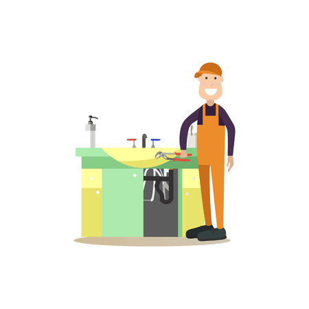 Vector illustration of plumber repairing sink.