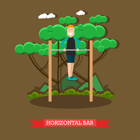 Vector illustration of man doing push-ups on horizontal bar in the park. Outdoors workout flat style design element.