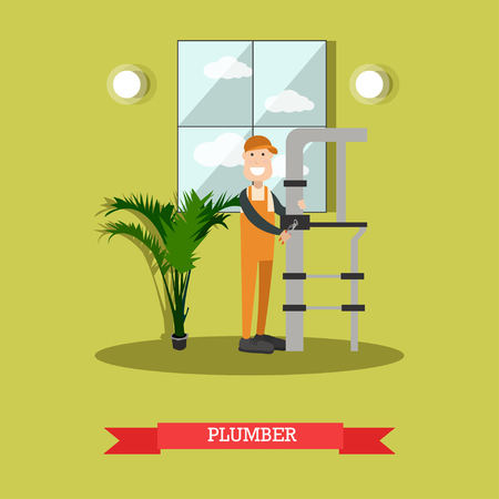 Plumber concept vector illustration in flat style Çizim
