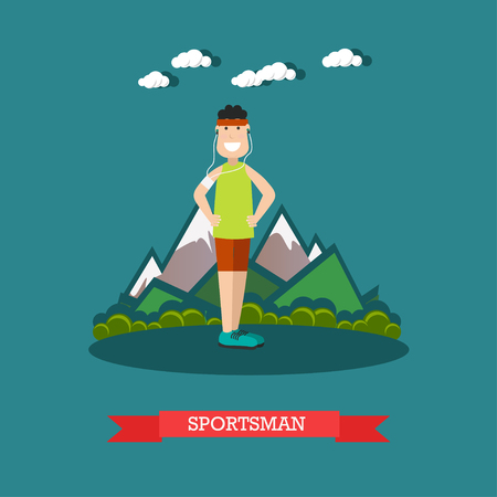 Vector illustration of young man in headphones training in the park. Sportsman flat style design element.
