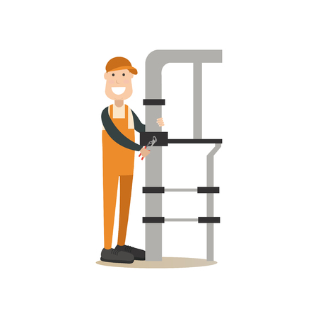 Vector illustration of plumber fixing leaking water pipes with pipe wrench. Professional worker flat style design element, icon isolated on white background. Illustration