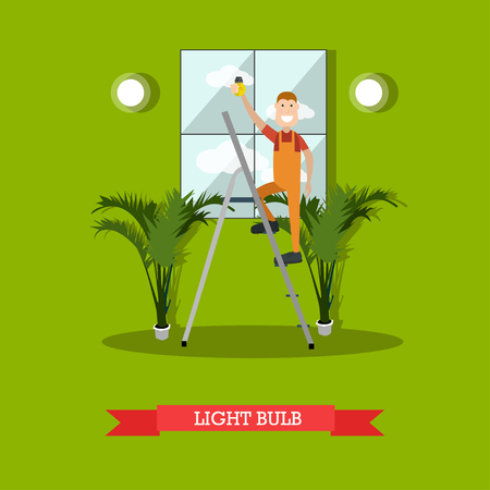 Vector illustration of electrician flat style design element.