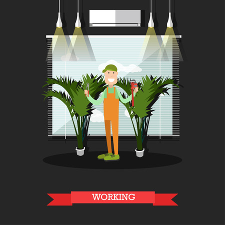 Vector illustration of pipe fitter male standing with arms raised holding plumbers pliers and pipe wrench. Working plumber concept design element in flat style. Illustration