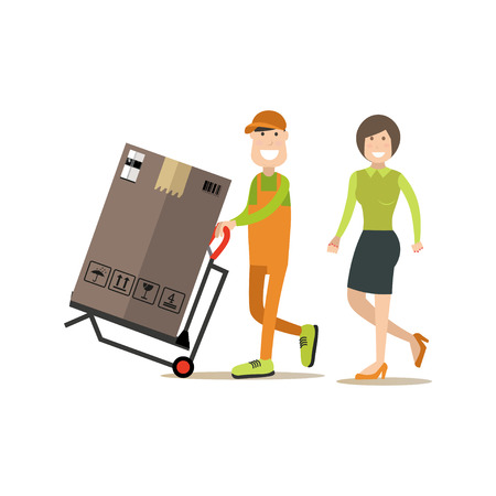 Vector illustration of loader pushing cart with fridge in carton box.