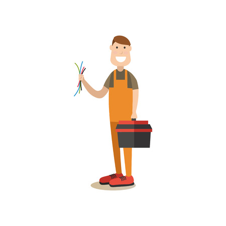 Vector illustration of worker with tool box and wires. Electronics repair concept. Professional worker flat style design element, icon isolated on white background.