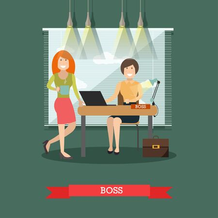 Vector illustration of women creative director and her colleague with cup of tea at office room. Boss concept flat style design element.