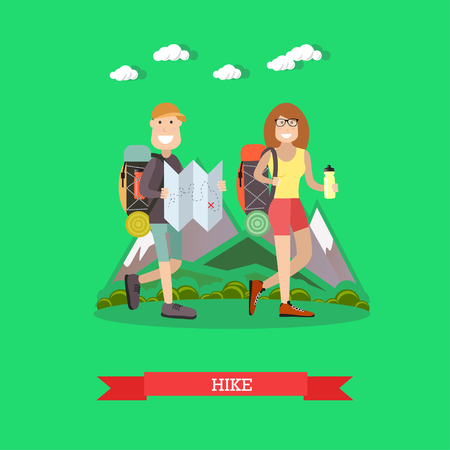 Hiking tourists illustration in flat style. Illustration