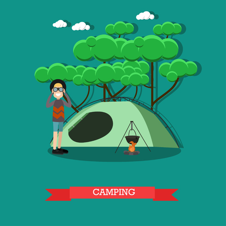 Camping concept  illustration in flat style.