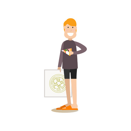 Vector illustration of man with pizza box in one hand and slice of pizza in the other. Takeaway food concept. Food people flat style design element, icon isolated on white background. Foto de archivo