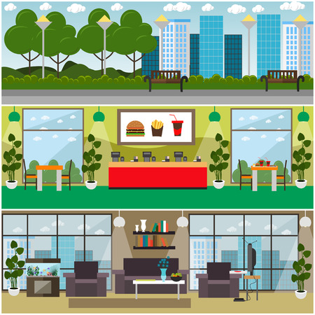 Vector set of fast food posters, banners with quick service restaurant or cafe interior, home interior, city park street. Flat style design.