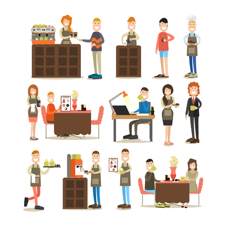 Vector illustration of coffee shop staff waitress, waiter, bartender, confectioner and visitors, customers. Coffee house people symbols, icons isolated on white background. Flat style design.