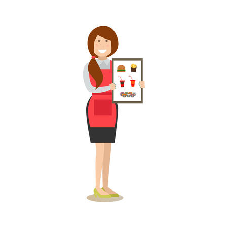 Vector illustration of waitress holding fast food restaurant menu. Food people flat style design element, icon isolated on white background.