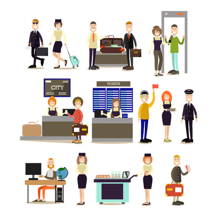 Vector illustration of pilot, stewardess, airline check-in attendant, ramp agent, ticket agent, security staff and passengers. Airport people flat symbols, icons isolated on white background.