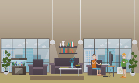 Vector illustration of one man eating pizza and drinking cola while watching tv and the other man holding pizza box and slice of it. Home interior. Takeaway food concept design elements in flat style.