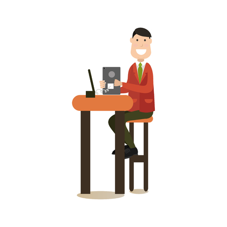 Vector illustration of male using the network in internet cafe or club. Internet people flat style design element, icon isolated on white background.