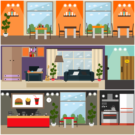 Vector set of fast food interior flat posters, banners