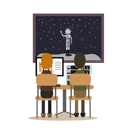 Space people concept flat vector illustration Vettoriali