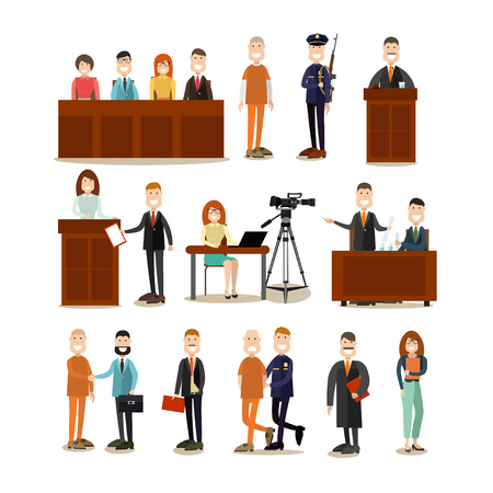 Law court people vector flat icon set