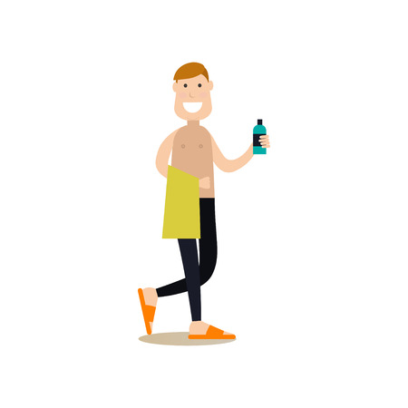 Vector illustration of fitness man going to take a shower after workout. Gym people flat style design element, icon isolated on white background. Illustration