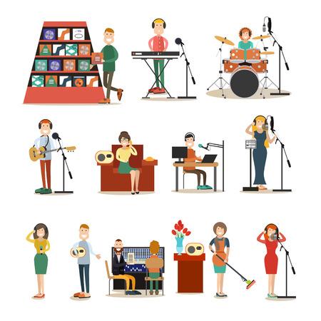 Vector illustration of singers, instrumental musicians recording tracks at recording studio or radio studio. Radio people symbols, icons isolated on white background. Flat style design.  イラスト・ベクター素材