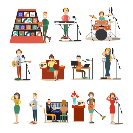 Vector illustration of singers, instrumental musicians recording tracks at recording studio or radio studio. Radio people symbols, icons isolated on white background. Flat style design. Ilustrace