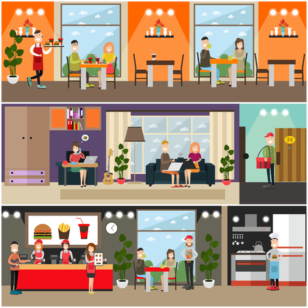 Vector set of fast food flat posters, banners