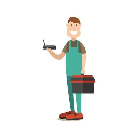Vector illustration of worker holding tool box in one hand and wifi router in the other. Wireless connection concept. Internet people flat style design element, icon isolated on white background. Illustration