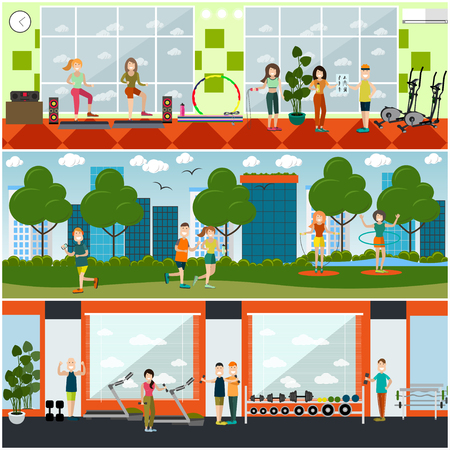 Vector set of gym posters, banners with people training in park and in fitness club. Girls doing step aerobics, exercising with jump ropes, dumbbells,  jogging. Flat style design.