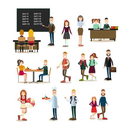 School people vector flat icon set
