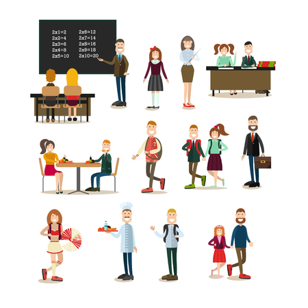 School people vector flat icon set