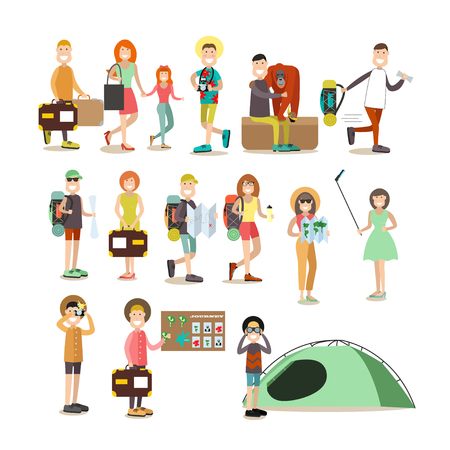Tourist people vector flat icon set  イラスト・ベクター素材