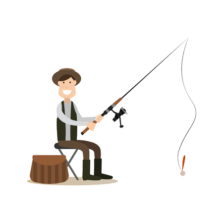 Vector illustration of fisherman catching fish while sitting on chair. Fisher with fishing rod flat style design element, icon isolated on white background. Illustration