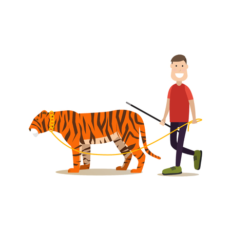Vector illustration of male animal tamer holding whip in one hand and tiger leash in the other. Wild animal trainer with his tiger flat style design element, icon isolated on white background.