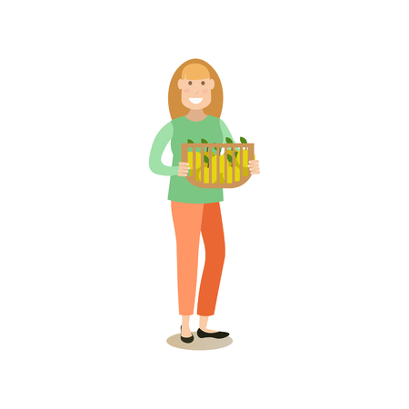 Vector illustration of woman holding basket full of apples. Apple hunting season concept flat style design element, icon isolated on white background.