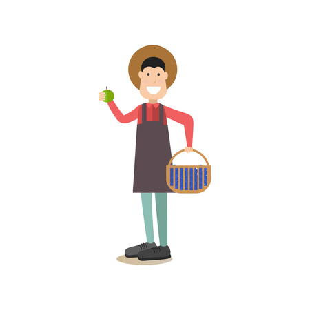 Vector illustration of man holding basket full of blueberries in one hand and apple in the other. Blueberry hunting season concept flat style design element, icon isolated on white background. Illustration