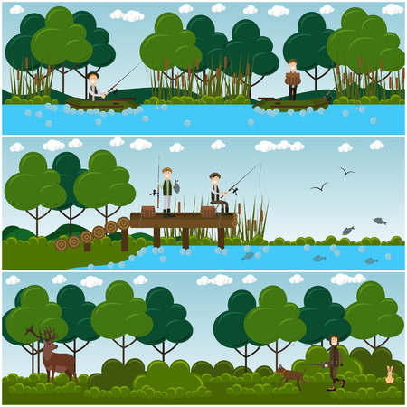 Vector set of hunter posters, banners with men hunting deer, fishing while sitting in boats and on pier. Flat style design. Illustration