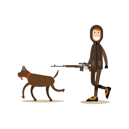 Vector illustration of hunter with rifle walking with his hunting dog. Hunter people flat style design element, icon isolated on white background. Illustration