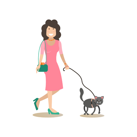 Vector illustration of woman walking with cat using pet leash. Pet owner and her kitten flat style design element, icon isolated on white background.