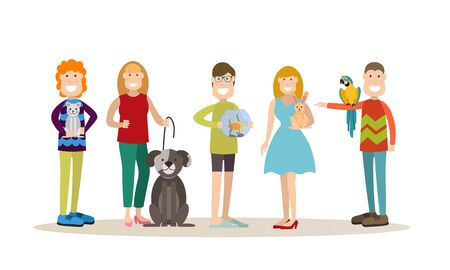 Vector set of people with their pets cat, dog, goldfish, rabbit and parrot cockatoo. Males and females pet owners flat style design elements, icons isolated on white background.