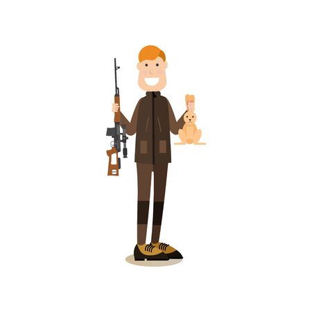 Hunter people concept vector flat illustration