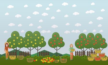 Apple hunting season concept vector flat illustration