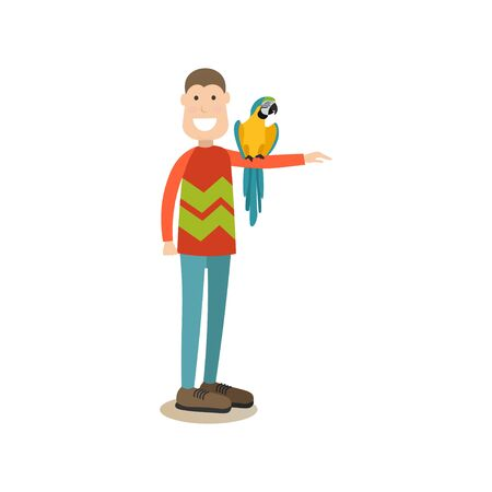 Parrot owner male with his pet vector flat illustration