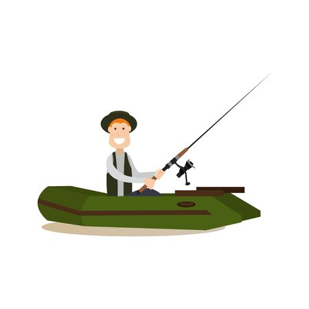 Vector illustration of man fishing while sitting in boat. Fisherman with fishing rod flat style design element, icon isolated on white background. Stock Photo