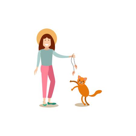 Cat Owner With Her Pet Vector Flat Illustration Stock Photo ... on fireworks cat, sharepoint cat, photoshop cat, curl cat, linux cat, dom cat, iphone cat, cgi cat, e-mail cat, web cat, oracle cat, twitter cat, marketing cat, python cat, spastic cat,