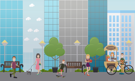 Walking with pets in the street vector flat illustration