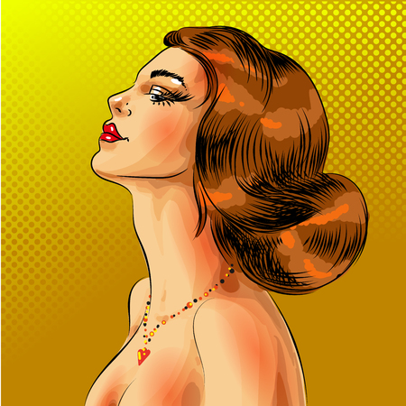 A Vector pop art beautiful red haired woman portrait Illustration