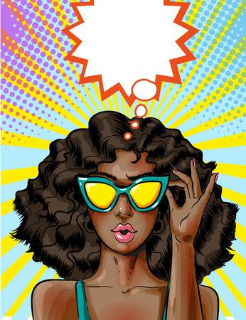 Vector pop art African american woman in yellow sunglasses Illustration