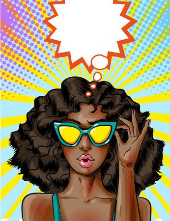 Vector pop art African american woman in yellow sunglasses Stock Illustratie